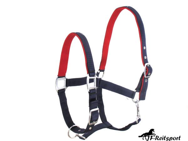 Premium Qualitäts Halfter 2-Fach verstellbar mit EVA unterlegt 2 Farbig blue-red für Vollblut und Wa